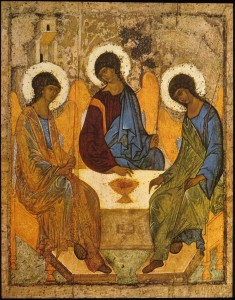 Icon of the Old Testament Trinity Prefiguring the Incarnation. Andrey Rublyov. Obtained from ARTstor